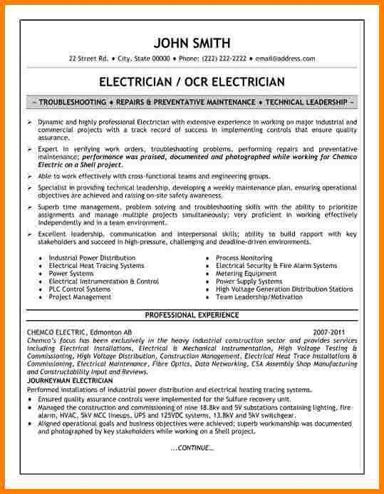 career services sample resumes electrician resume example - Sample Resume For Electrical Technician