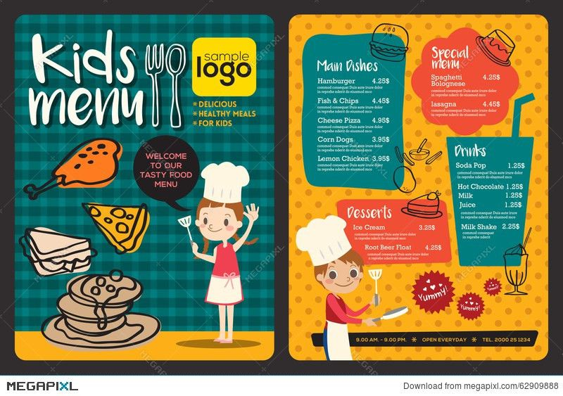 Cute Colorful Kids Meal Menu Template Illustration 62909888 - Megapixl