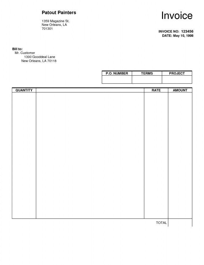 Blank Invoice Template Free Pdf | Template Design
