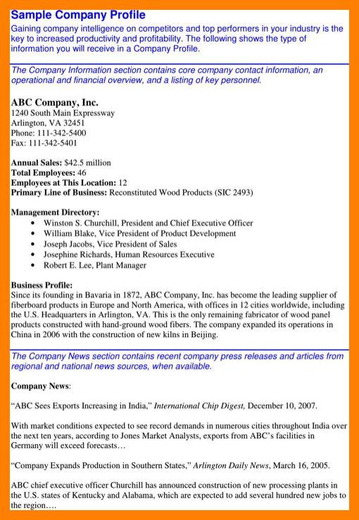 5+ company profile examples | intern resume