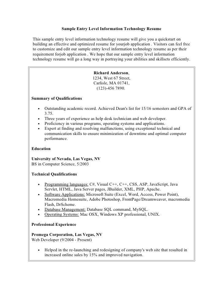sample information technology resume entry level, Health ...
