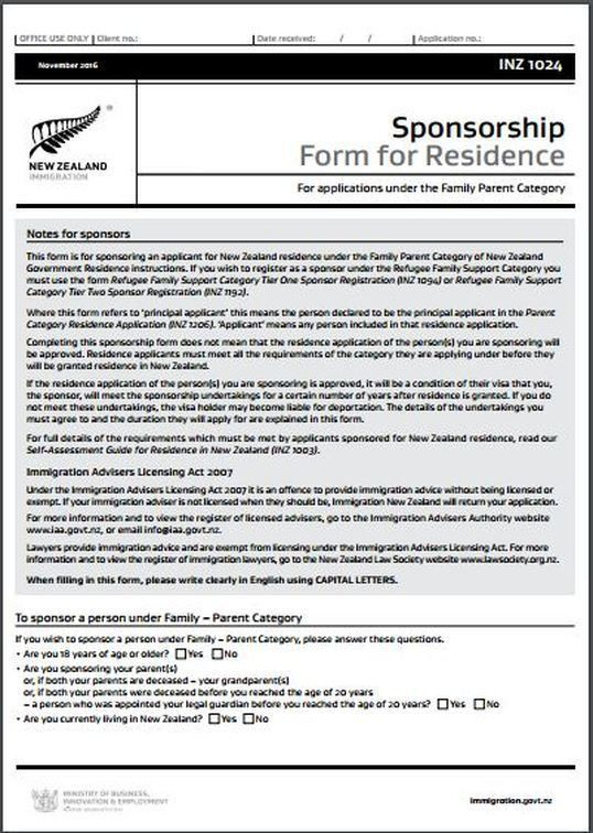 INZ1024 Sponsorship Form For Residence - All Immigration matters ...