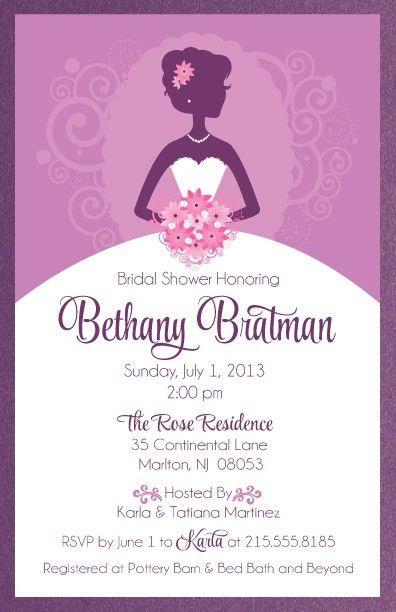 Purple Bridal Shower Invitations | badbrya.com