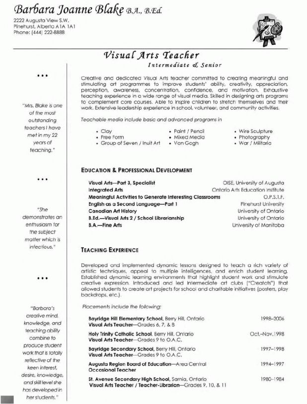 Template experienced teacher resume