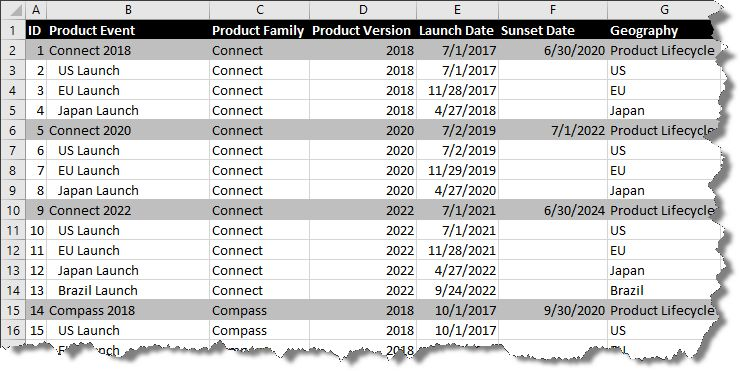Product Portfolio Roadmap in Excel | OnePager Express