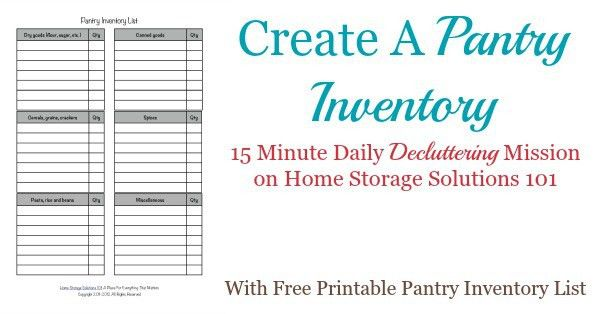 Free Printable Pantry List: Keep An Inventory And Stay Organized