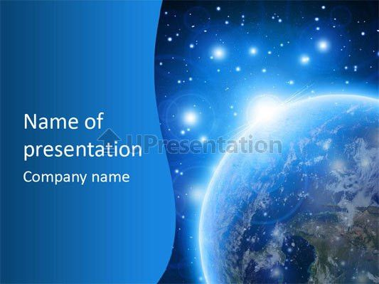 Blue planet earth in outer space PowerPoint Template ID 0000059660 ...