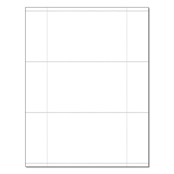 """White 3-Up 3.5"""" x 5.5"""" Perforated Postcard and Index Card Stock ..."""