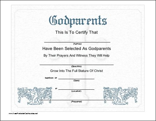 This printable certificate recognizes the selection of godparents ...