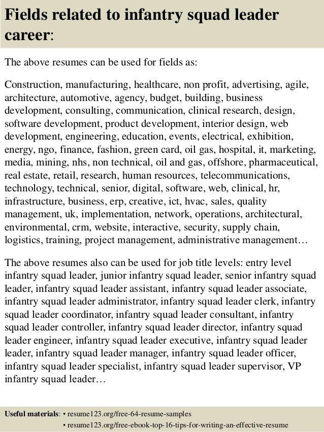 Top 8 infantry squad leader resume samples