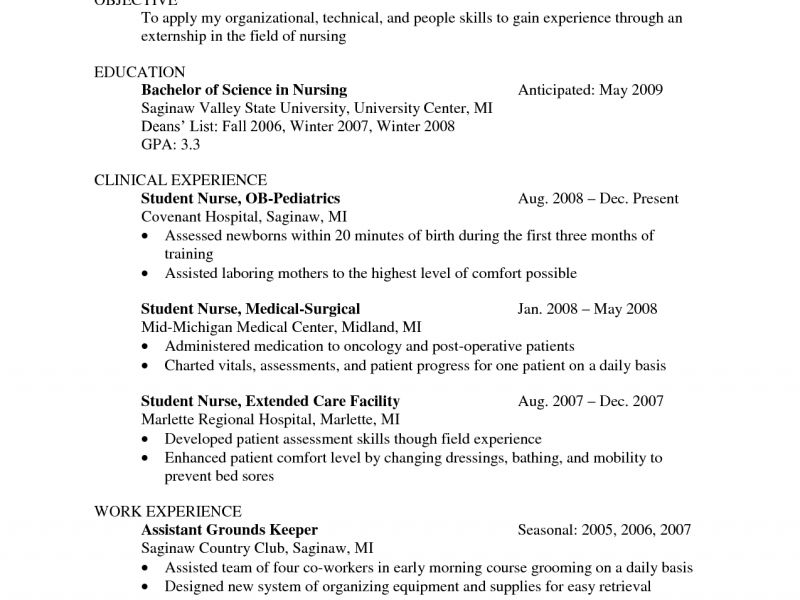 Clever Student Nurse Resume 5 Doc.638825 Example - CV Resume Ideas