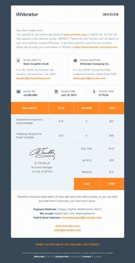 Simple Invoice Template Free Responsive | Design Invoice Template