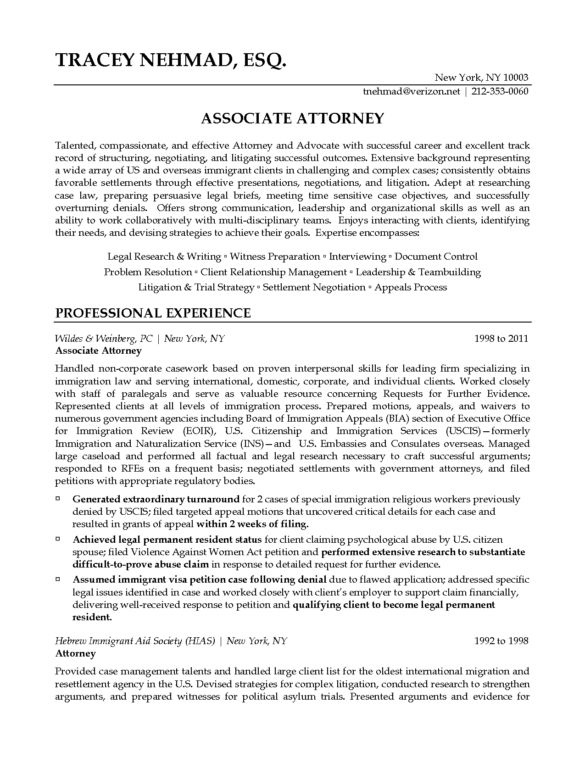 Excellent Associate and Professional Experience Attorney Resume ...