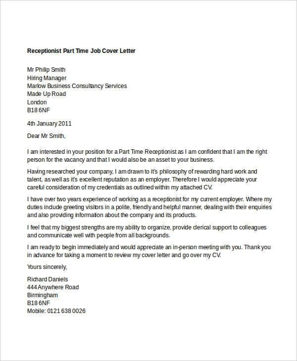 8+ Part-Time Job Cover Letter Templates - Free Sample, Example ...