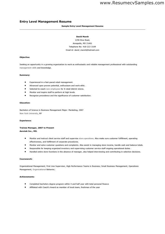 Entry Level Resume Objective | berathen.Com