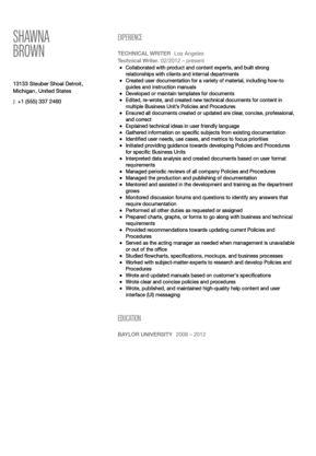 Technical Writer Resume Sample | Velvet Jobs