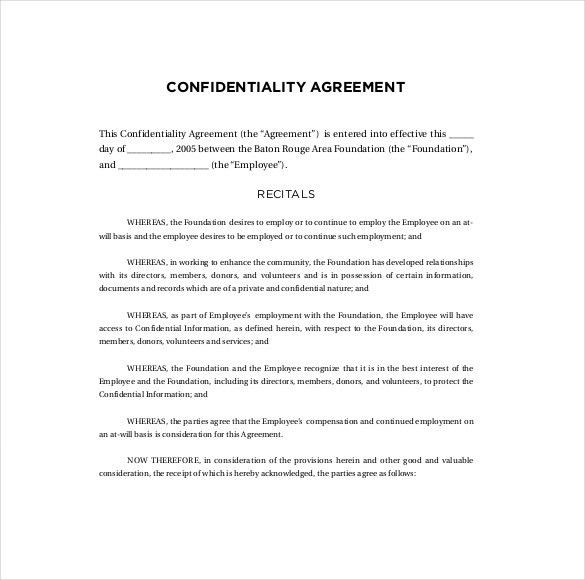 10+ Confidentiality Agreement Templates – Free Sample, Example ...