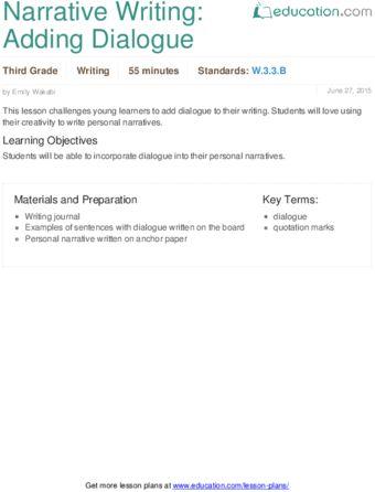 Narrative Writing: Adding Dialogue | Lesson Plan | Education.com