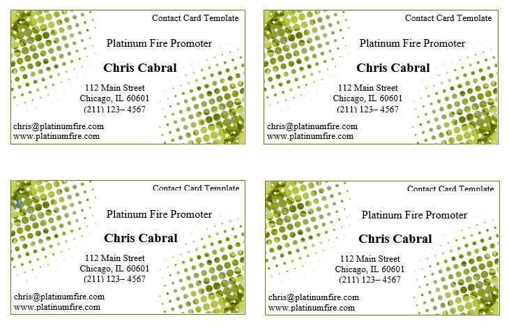 Business Contact Card Template | Word Templates