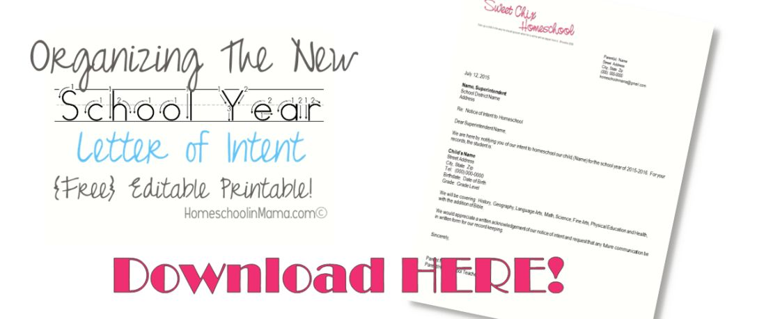 FREE Editable Letter of Intent | Free Homeschool Deals ©