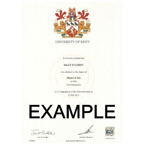 Replacement Degree Certificate | University of Kent