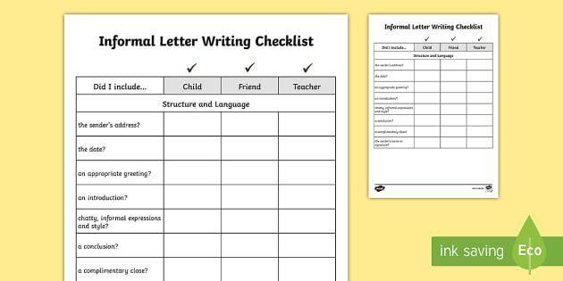 Y3/Y4 Informal Letter Writing Checklist - Requests KS2 English