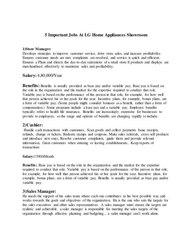 Wage & Salary Survey Report On Home Aplliances
