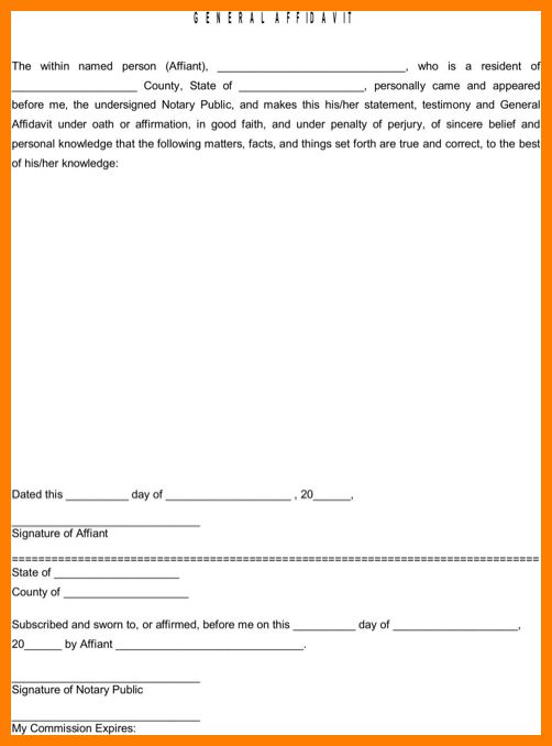 Awesome Sworn Affidavit Form Ideas - Best Resume Examples for Your ...