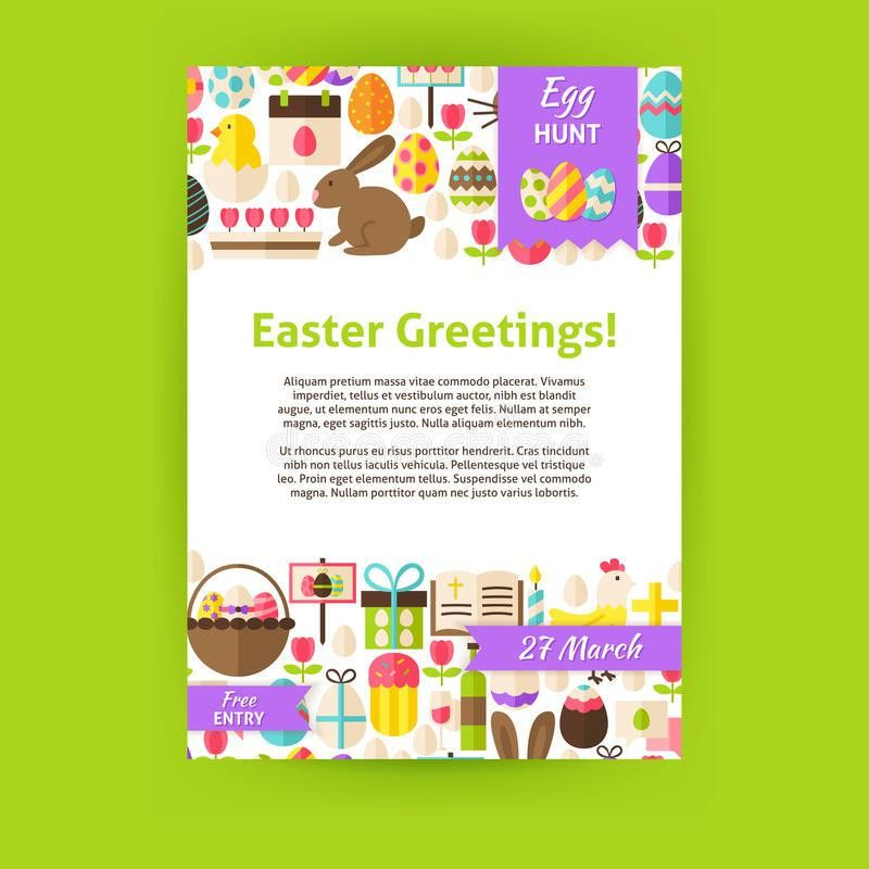Happy Easter Holiday Vector Invitation Template Poster Stock ...