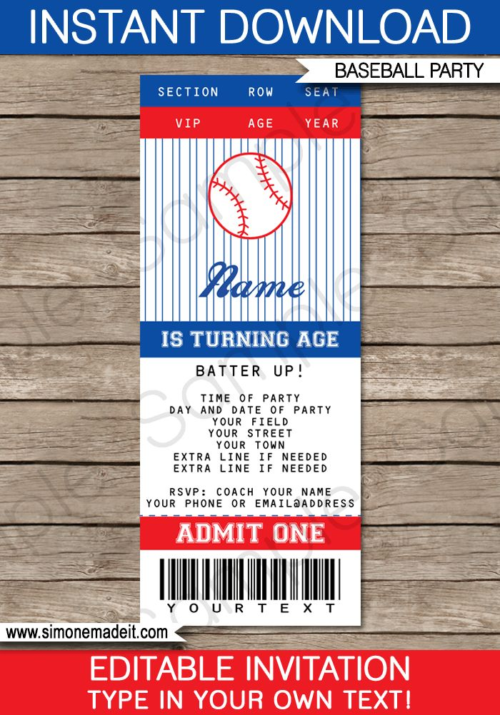 Baseball Ticket Invitation Template | Baseball Invitations
