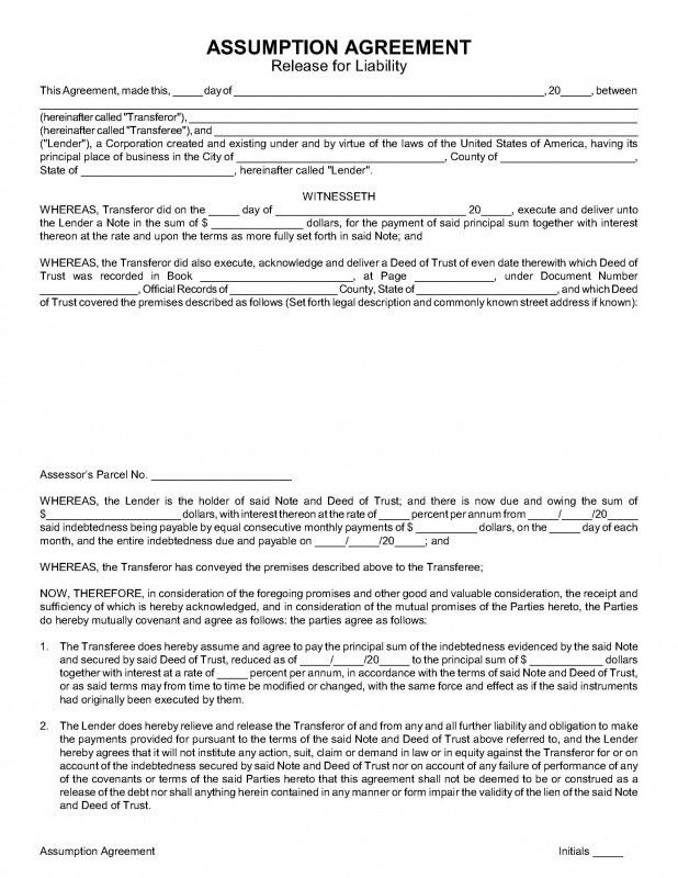ASSUMPTION AGREEMENT (Release for Liability) - Nevada Legal Forms ...