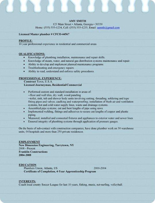 Sample Plumber Resume for Microsoft Word (.doc)