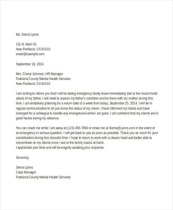 maternity leave letter template