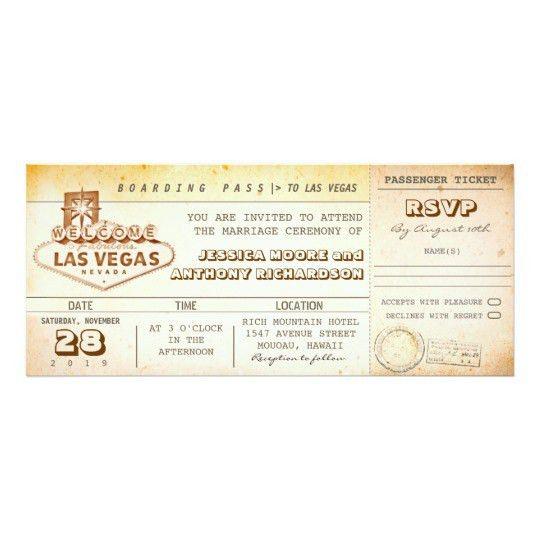 boarding pass wedding tickets-invitation LAS VEGAS Card   Zazzle.com