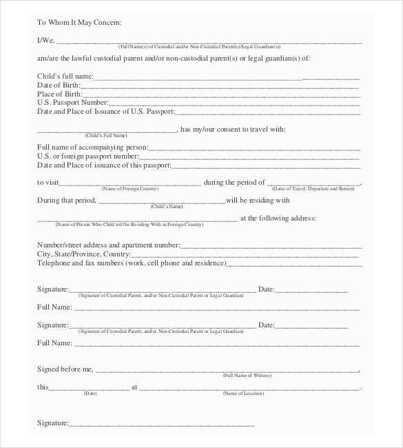 Child Travel Consent Form Usa - formats.csat.co