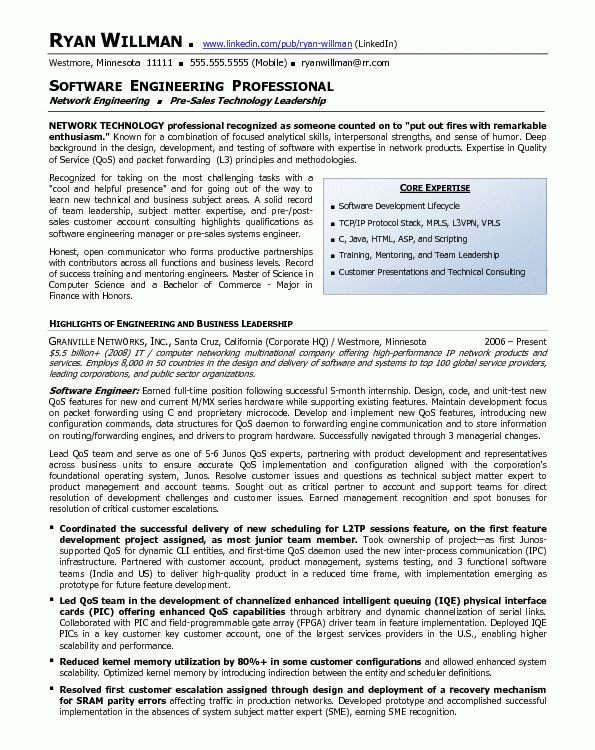 Resume Sample 19 - Software Engineering Professional resume ...