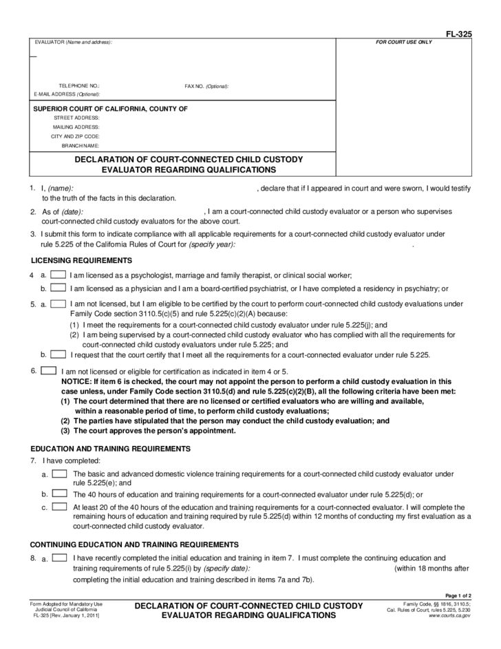 FL-325 Declaration of Court-Connected Child Custody Evaluator ...