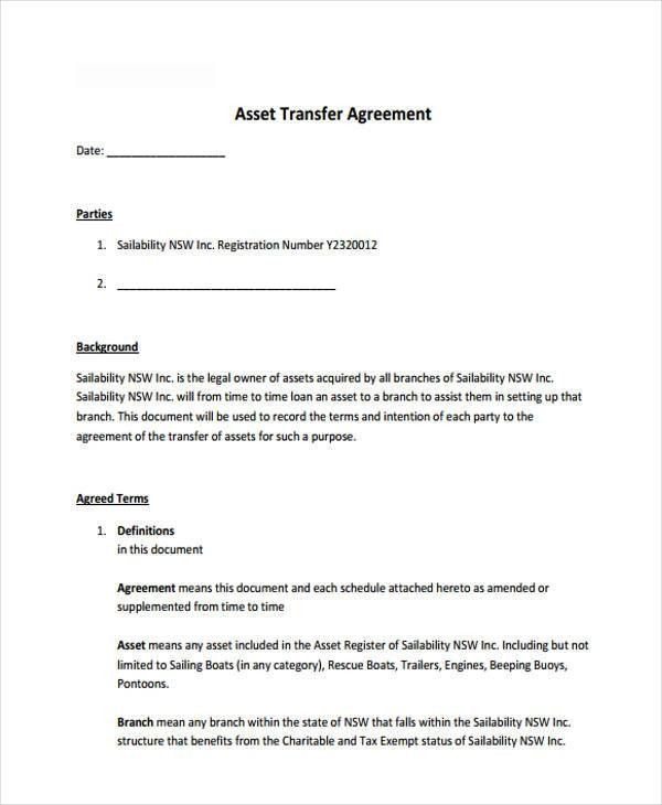 9 Transfer Agreement Templates - Free Sample, Example Format ...