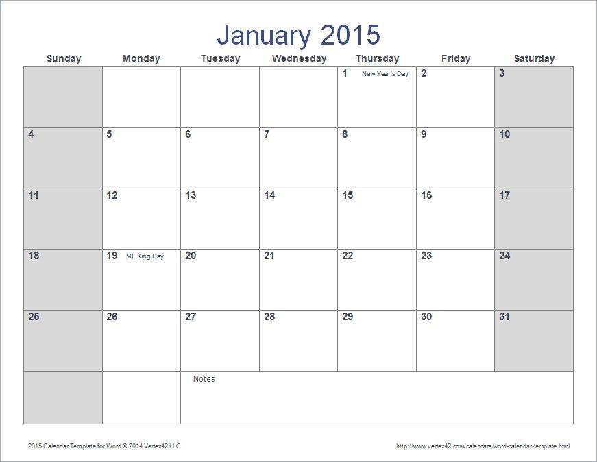 microsoft word calendar template