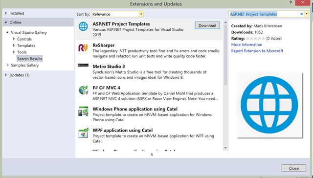 Introducing the Visual Studio 2015 Extension for ASP.NET Project ...