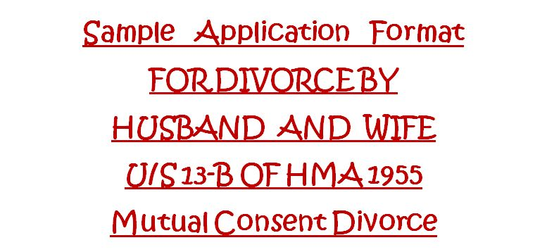 Application Format For Mutual Consent Divorce U/S 13B OF HMA ...