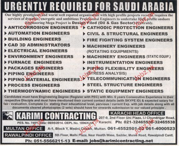 Environment Engineers, Piping Engineers Job Opportunity 2017 Jobs ...