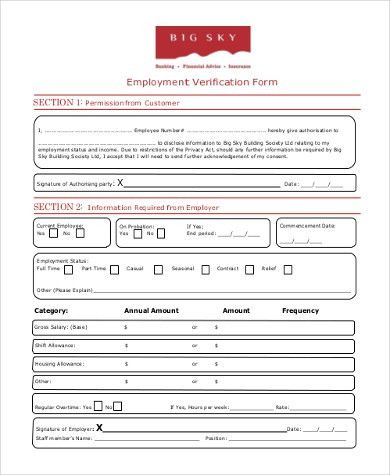 Employee Verification Form Samples - 8+ Free Documents in Word, PDF