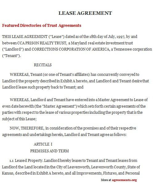 Kansas Lease Agreement, Sample Kansas Lease Agreement Template ...