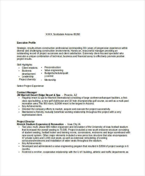 Contract Manager Resume [Template.billybullock.us ]
