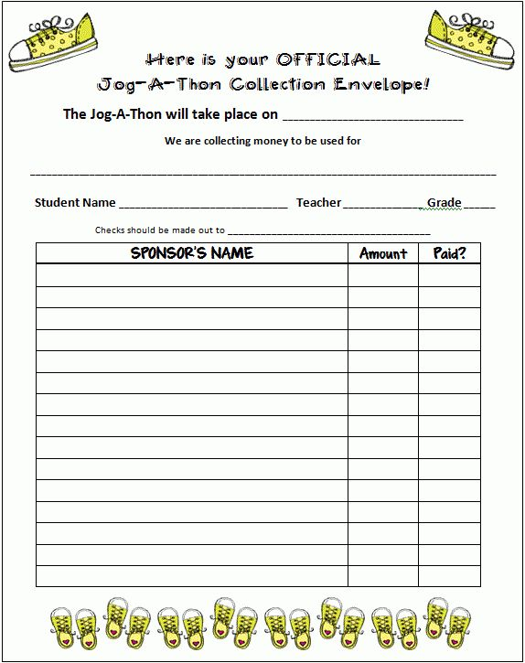 Jog-A-Thon collection form... from Finding JOY in 6th Grade (blog ...