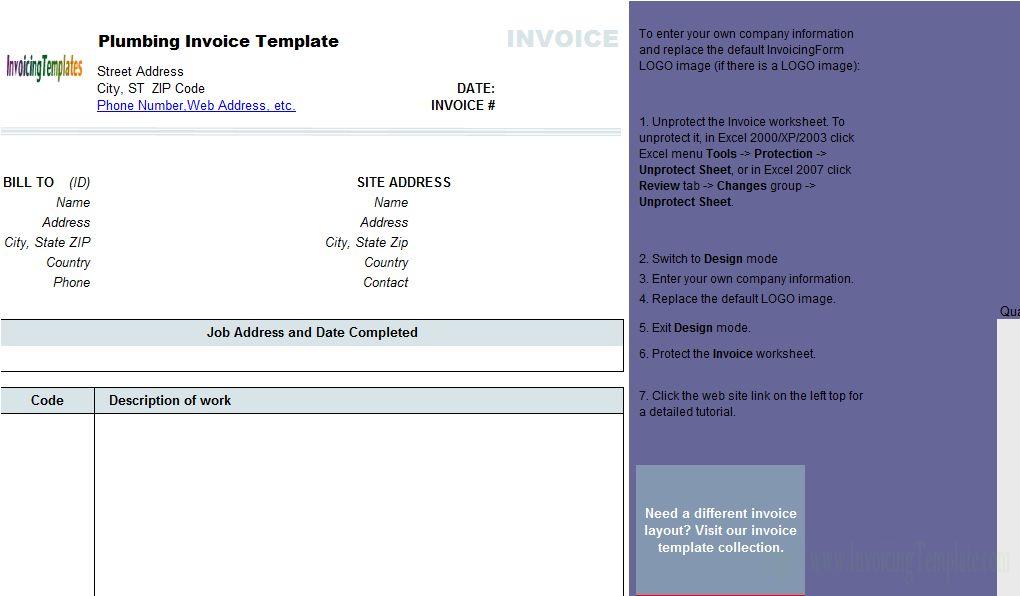 Plumbing Contractor Invoice Template