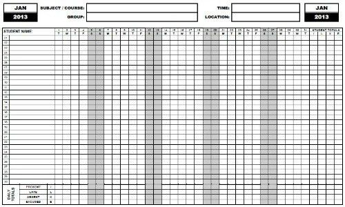 Printable Attendance Sheet - gameshacksfree