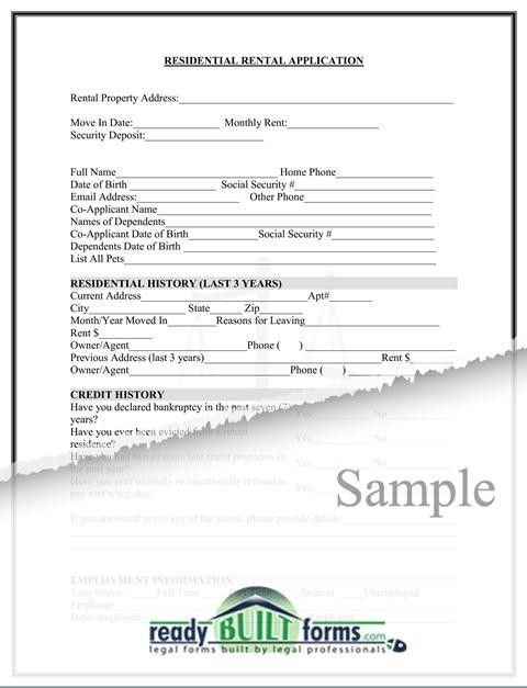 Residential Rental Application-Download Now