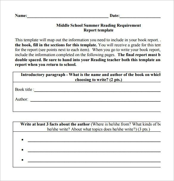 6+ Middle School Book Report Templates – Free PDF Documents ...